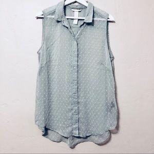 H&M Mint Green Sleeveless Blouse